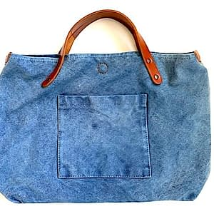 Indigo dyed canvas tote